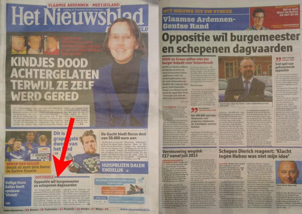 Oosterzele was voorpaginanieuws, Nieuwsblad vrijdag 14 december 2012