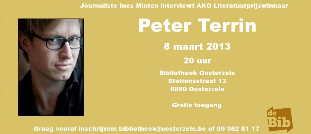 Peter Terrin te gast in de bibliotheek van Oosterzele op 8 maart
