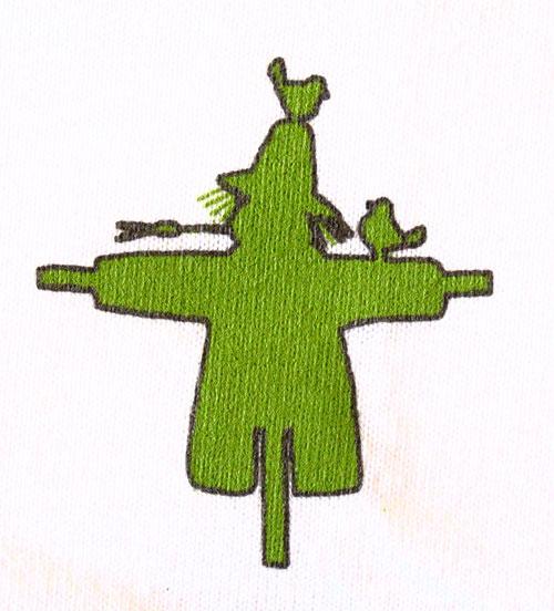 het logo van de Ploegfeesten - de vogelverschrikker blijft symbool voor de laatzomerse kermis van ons dorp