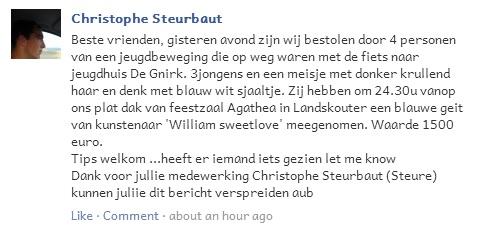 het bericht dat Christophe achterliet op de facebookpagina van jeugdhuis De Gnirk