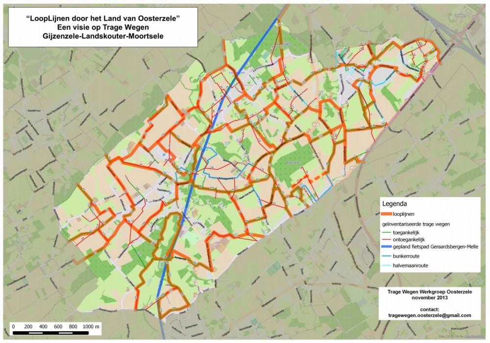 """bovenop deze kaart van Noord-Oosterzele, met de inventarisatie van toegankelijke (groene) en niet-toegankelijke (rode) trage wegen, tekende de werkgroep """"looplijnen"""" (dik oranje)"""