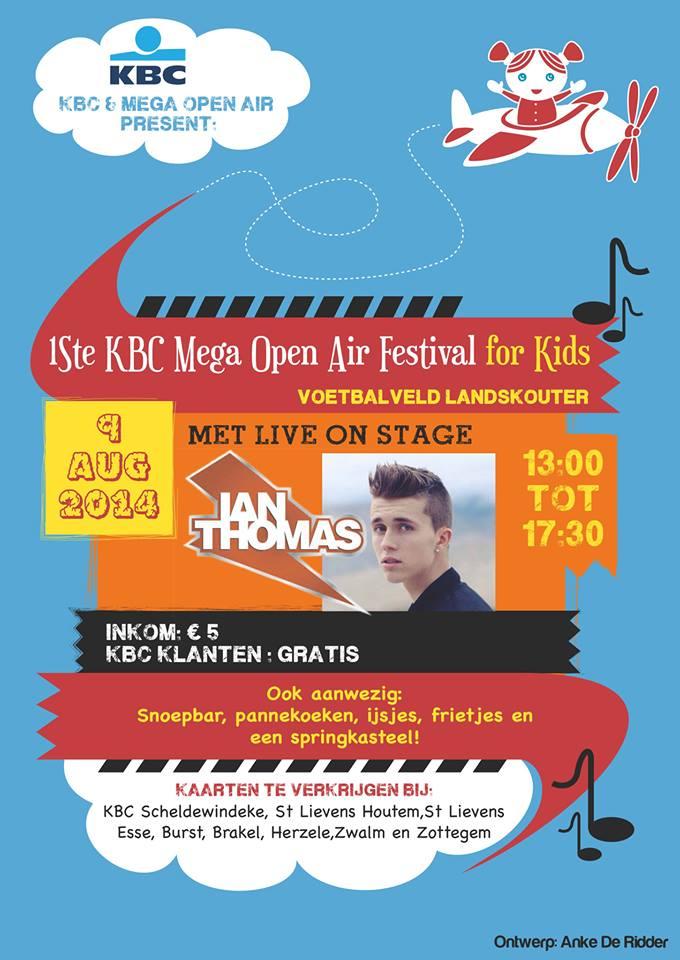 de affiche van het eerste KBC Mega Open Air Festival voor Kids, ontworpen door Anke De Ridder