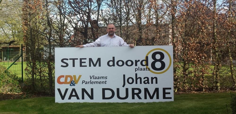 Johan Van Durme met zijn verliezingsslogan