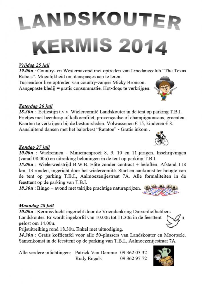 het gedetailleerd programma van Landskouter Kermis 2014 - met contactgegevens