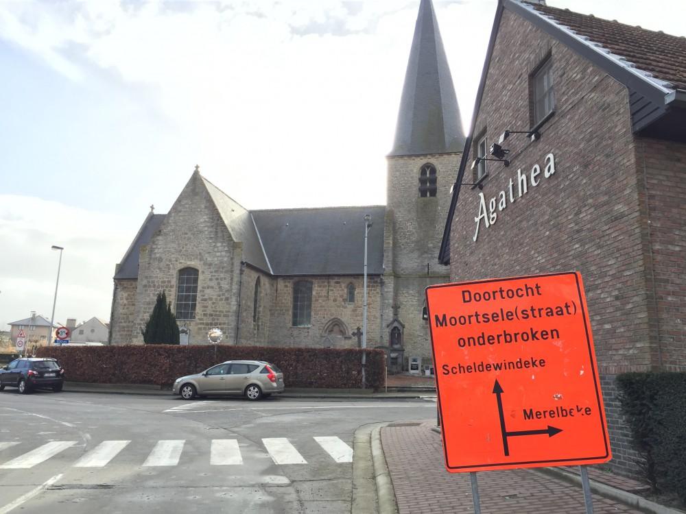Vanaf 23/2 is Moortsele enkel te bereiken via de Lembergestraat en Bakkerstraat