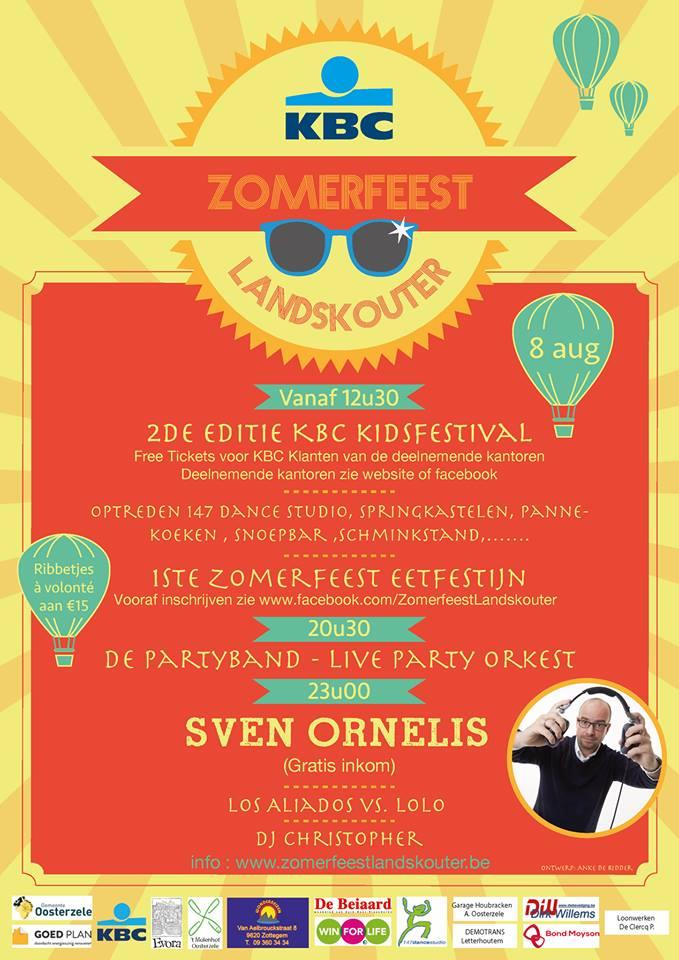 Affiche van het Kidsfestival en Zomerfeest met eetfestijn