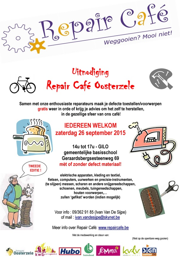Repair Café op 26 september in Oosterzele