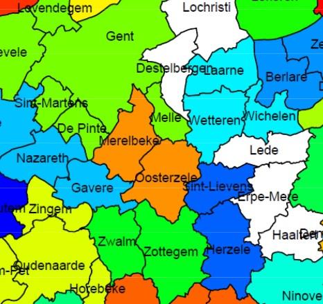 Kaart uit de studie van Vives (KU Leuven) met suggesties voor gemeentefusies in Oost-Vlaanderen