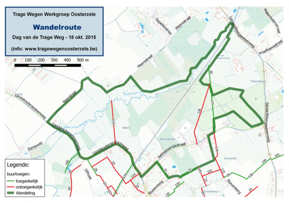 Kaartje met de wandeling in Landskouter op de Dag van de Trage Wegen op 18 oktober 2015