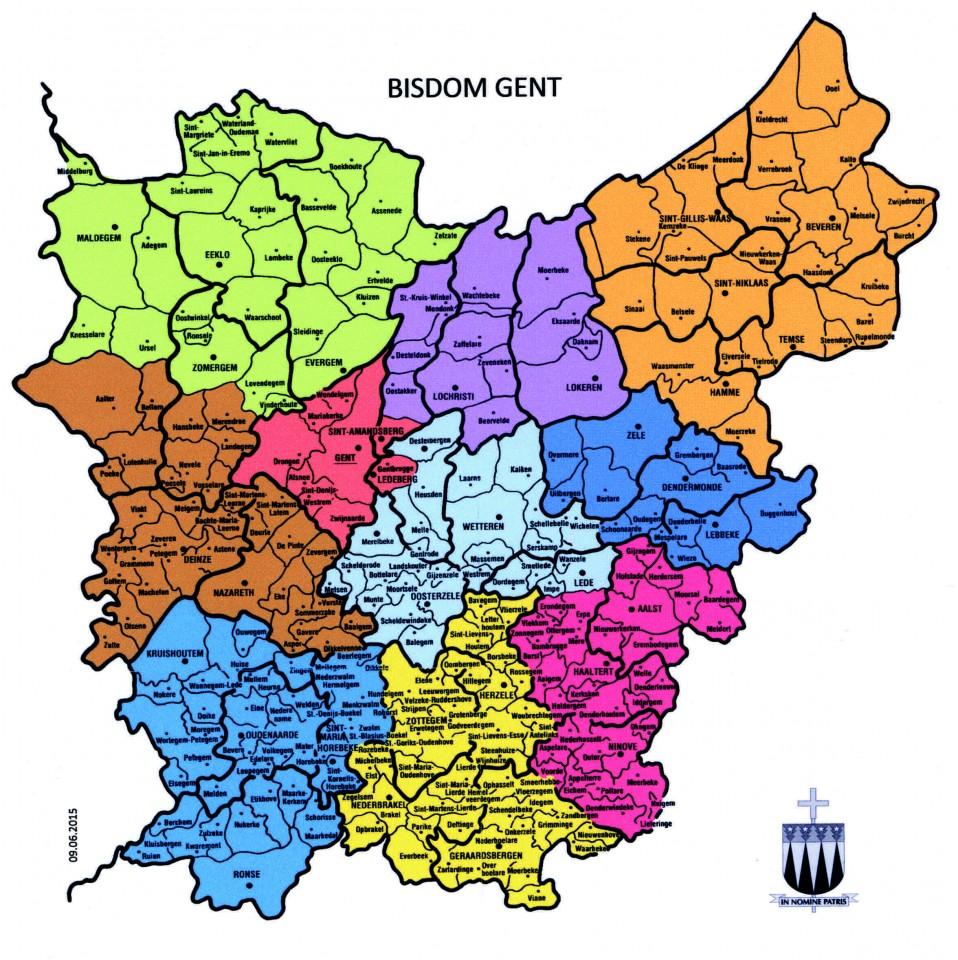 Kaart met de 10 dekenaten die zouden overblijven in het bisdom Gent