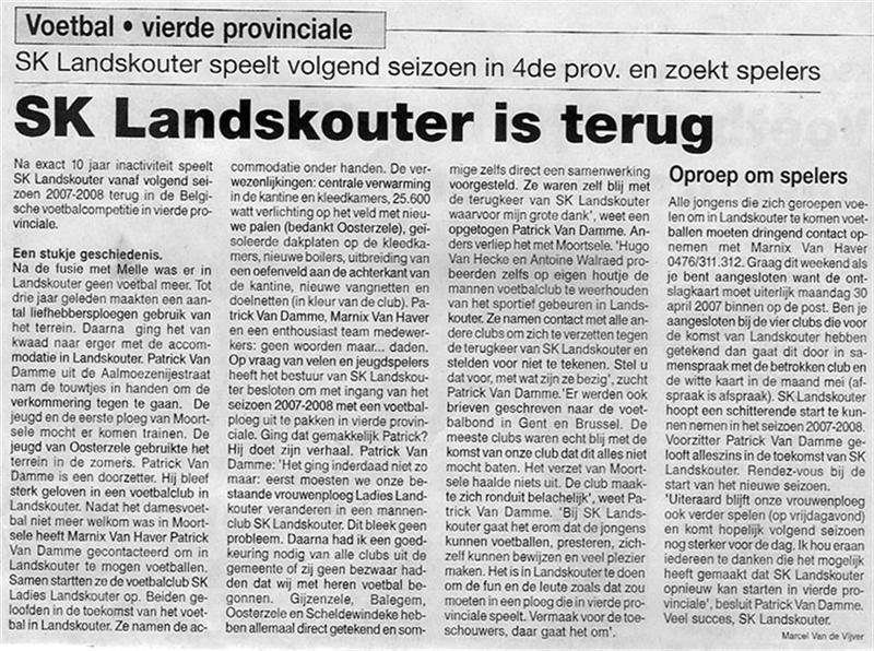 Artikel uit de Beiaard, toen de mannenploeg SK Landskouter in 2007 opnieuw opgestart werd