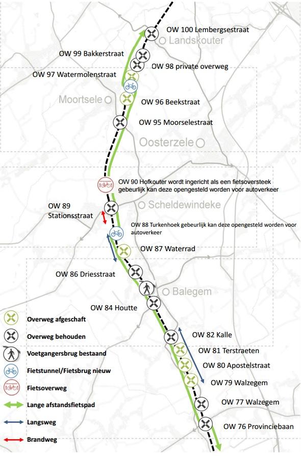 Het plan met het lange afstandsfietspad en het streefbeeld van Infrabel m.b.t. de overwegen in Oosterzele