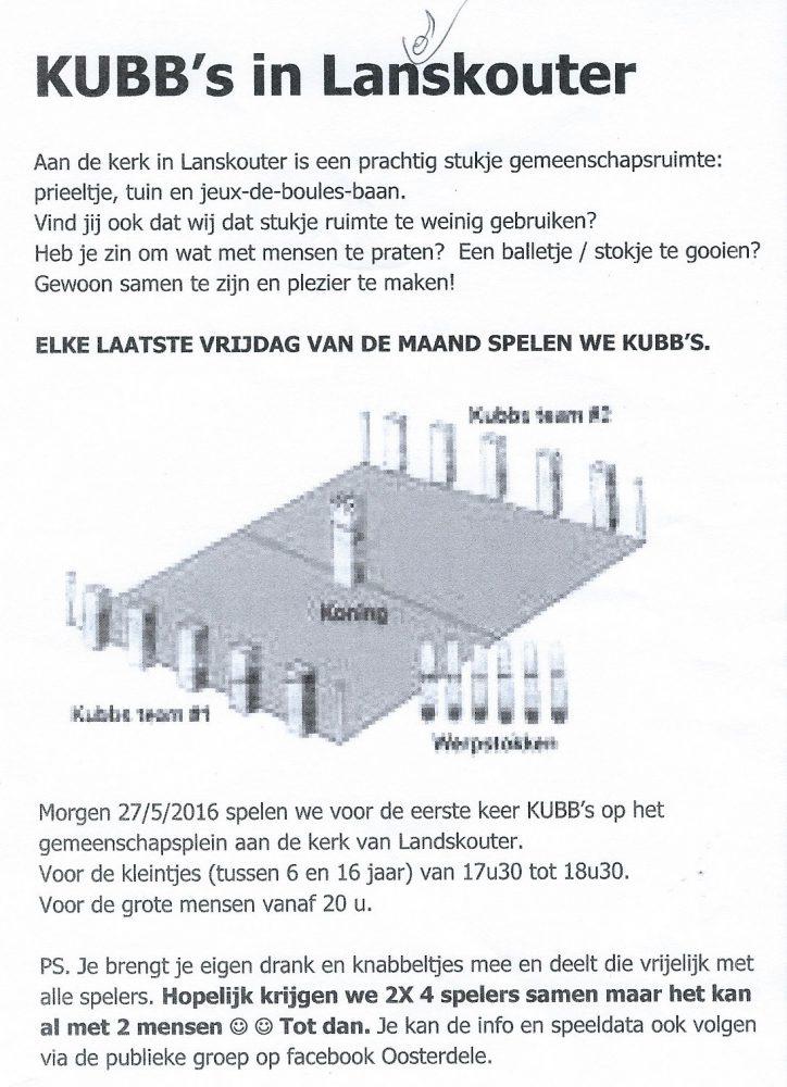 het pamflet met de uitnodiging om Kubb te spelen in de pastorietuin