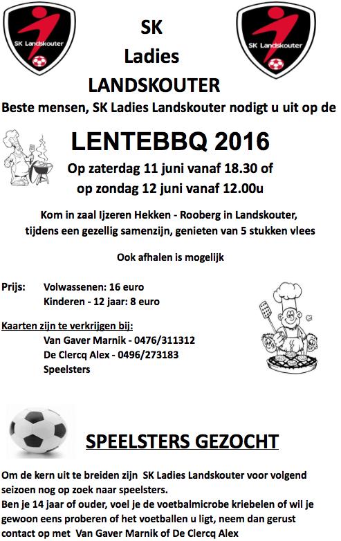 Lentebarbecue SK Ladies Landskouter in het weekend van 11 en 12 juni