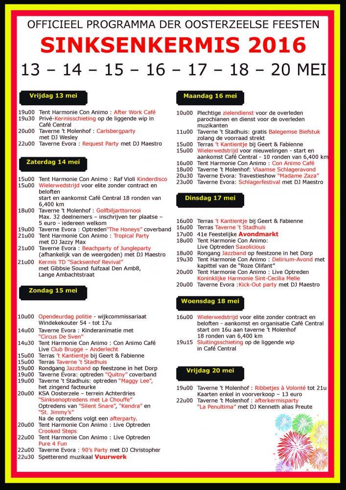 Het volledig programma van de Sinksenkermis in Oosterzele 2016