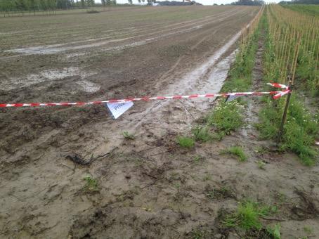 De afgesloten trage weg langs Hettingen (foto via Groen)