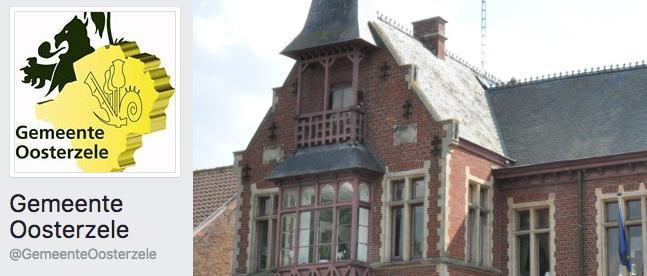 De nieuwe facebook pagina van de gemeente Oosterzele, actief sinds 1 september 2016