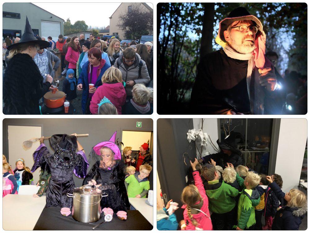 Chocomelk aan TBI (linksboven), een norn in het bos (rechtsboven, foto Jean-Pierre Fack), de heksendans in 't IJzeren Hekken (foto Jean-Pierre Fack) en kinderen vragen een lolly aan de heks (rechtsonder)